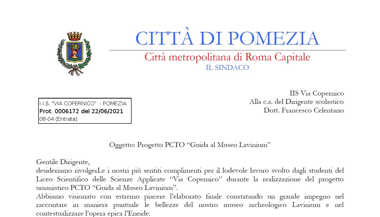 Complimenti della Città di Pomezia al lavoro del Progetto PCTO - Guida al Museo Lavinium - svolto d [..]