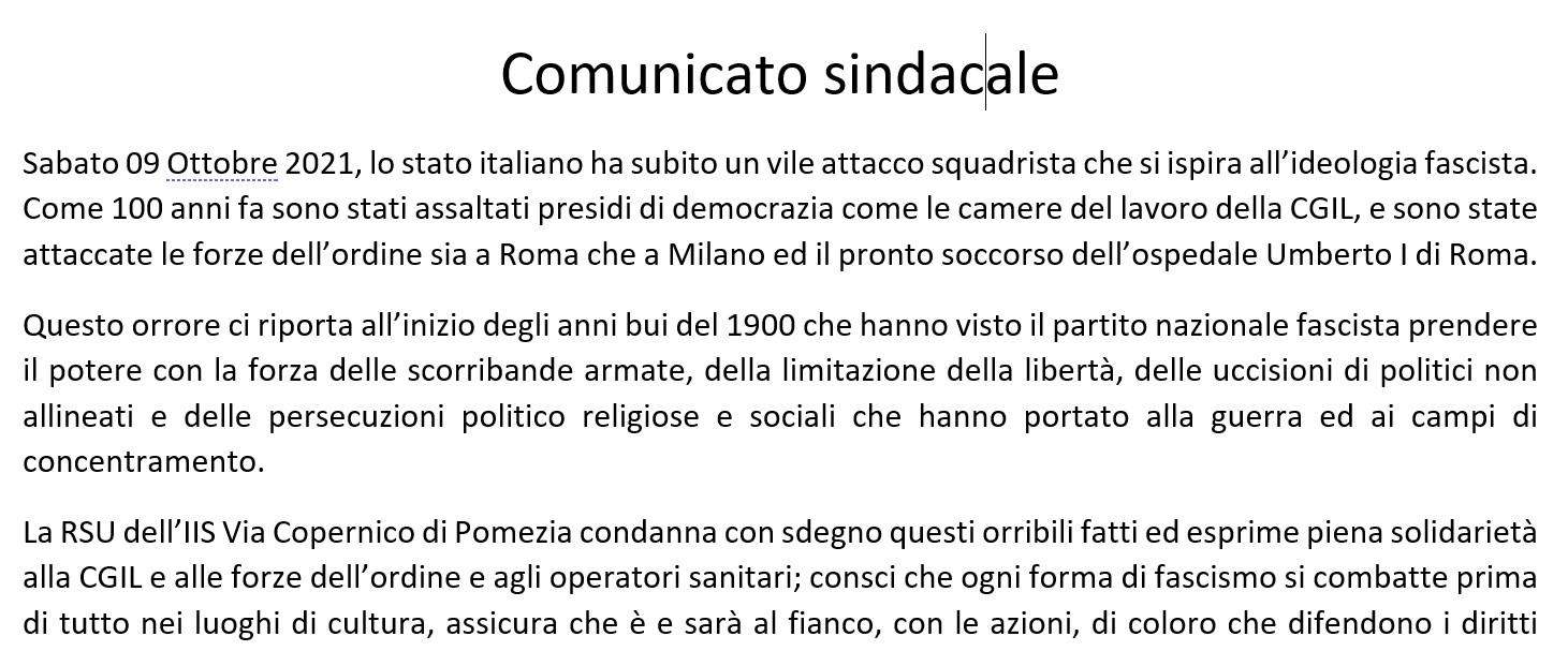 Comunicato sindacale Condanna Aggressione alle sedi della CGIL, Forze di Polizia e Ospedale Umberto  [..]
