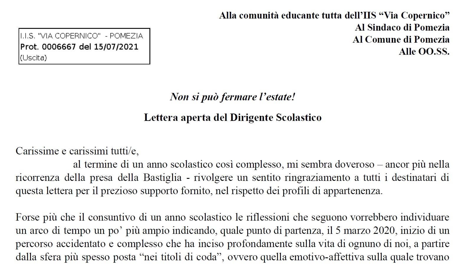 Lettera aperta del Dirigente Scolastico